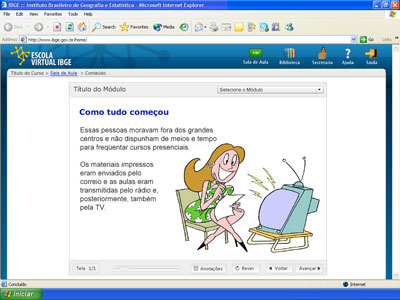 Interface gráfica da Escola Virtual
