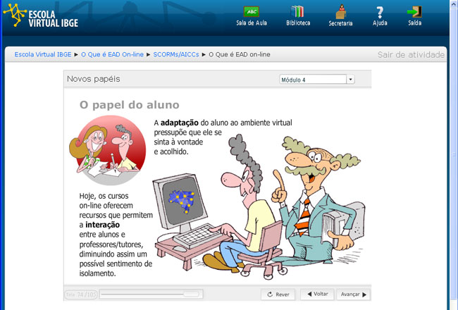 Tela da Escola Virtual IBGE