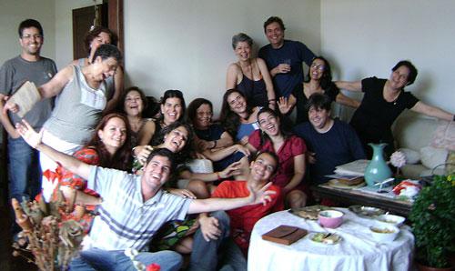 Comemoração de final de ano na casa de Anamaria de Moraes