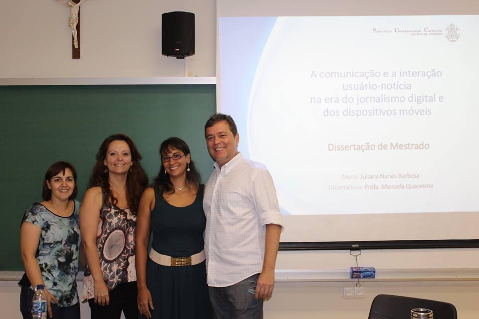 Banca de dissertação de mestrado de Juliana Nunes, na PUC-Rio.